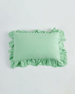 EXCLUSIVE COLOR - Neo Mint Ruffled Linen Pillowcase 100% French Flax Linen - Ginger Dream