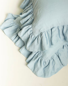 Serenity Blue Ruffled Linen Pillowcase 100% French Flax Linen - Ginger Dream
