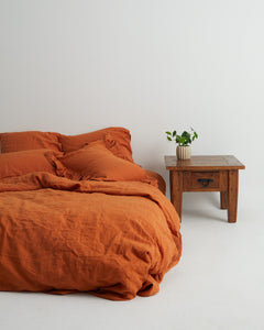 Golden Ochre 100% French Flax Linen Quilt Cover Set - Ginger Dream