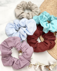 Ginger Dream Scrunchie - Turquoise - 100% French Flax Linen - Ginger Dream