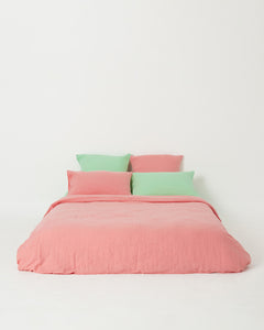 EXCLUSIVE COLOR - Salmon Rose 100% French Flax Linen Quilt Cover Set - Ginger Dream