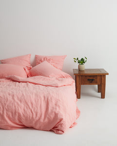 EXCLUSIVE COLOR - Salmon Rose Ruffled Linen Pillowcase 100% French Flax Linen - Ginger Dream