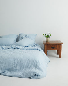 Serenity Blue 100% French Flax Linen Quilt Cover Set - Ginger Dream