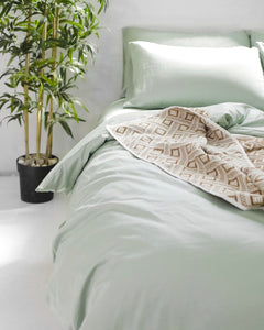 Green Lily Cotton Quilt Cover Set - 300TC Long-Staple Cotton - Ginger Dream