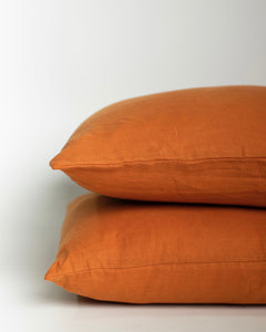 Linen Pillowcase Pair - Golden Ochre - 100% French Flax Linen - Ginger Dream