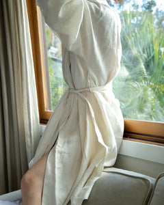 Pure Linen Robe In White-One Size - Ginger Dream
