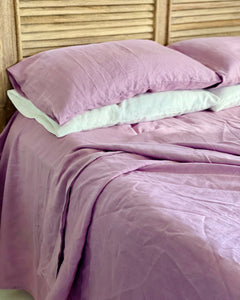 Linen Pillowcase Pair - Misty Lilac - 100% French Flax Linen - Ginger Dream