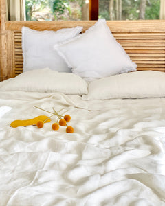 Creamy White 100% French Flax Linen Quilt Cover Set - Ginger Dream
