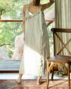 Resort Pure Linen Summer Maxi Dress - Natural - Ginger Dream