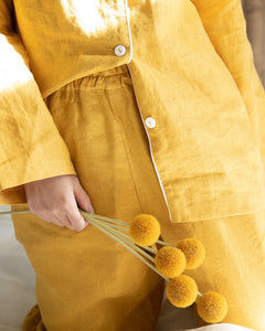 100% Linen Pyjama Set Mustard - Ginger Dream