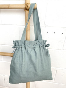Ginger Dream Drawstring Bag - Dusty Teal - Cotton Linen - Ginger Dream