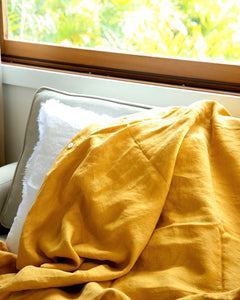 Turmeric Mustard 100% French Flax Linen Quilt Cover Set - Ginger Dream