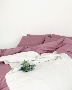 Peach Pink Cotton Quilt Cover Set - 300TC Long-Staple Cotton - Ginger Dream