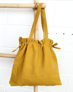 Ginger Dream Drawstring Bag - Mustard - Cotton Linen - Ginger Dream