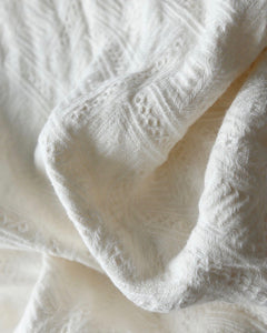 Diamond Jacquard Double-sided Blanket - White - 100% French Flax Linen - Ginger Dream