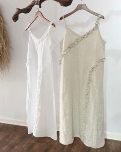 Resort Pure Linen Summer Maxi Dress - White - Ginger Dream