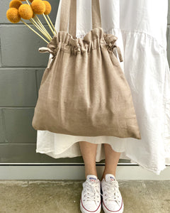 Ginger Dream Drawstring Bag - Mocha - Cotton Linen - Ginger Dream