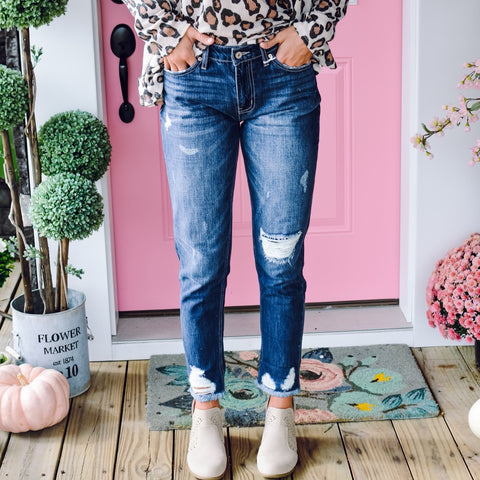 High Rise Kan Can Leopard Patch Skinny