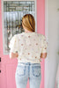 Pastel Speckle Cropped Sleeve Sweater