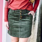 Olive Button Skirt