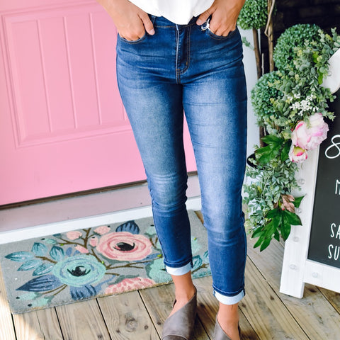 Rise Button Fly Jeans
