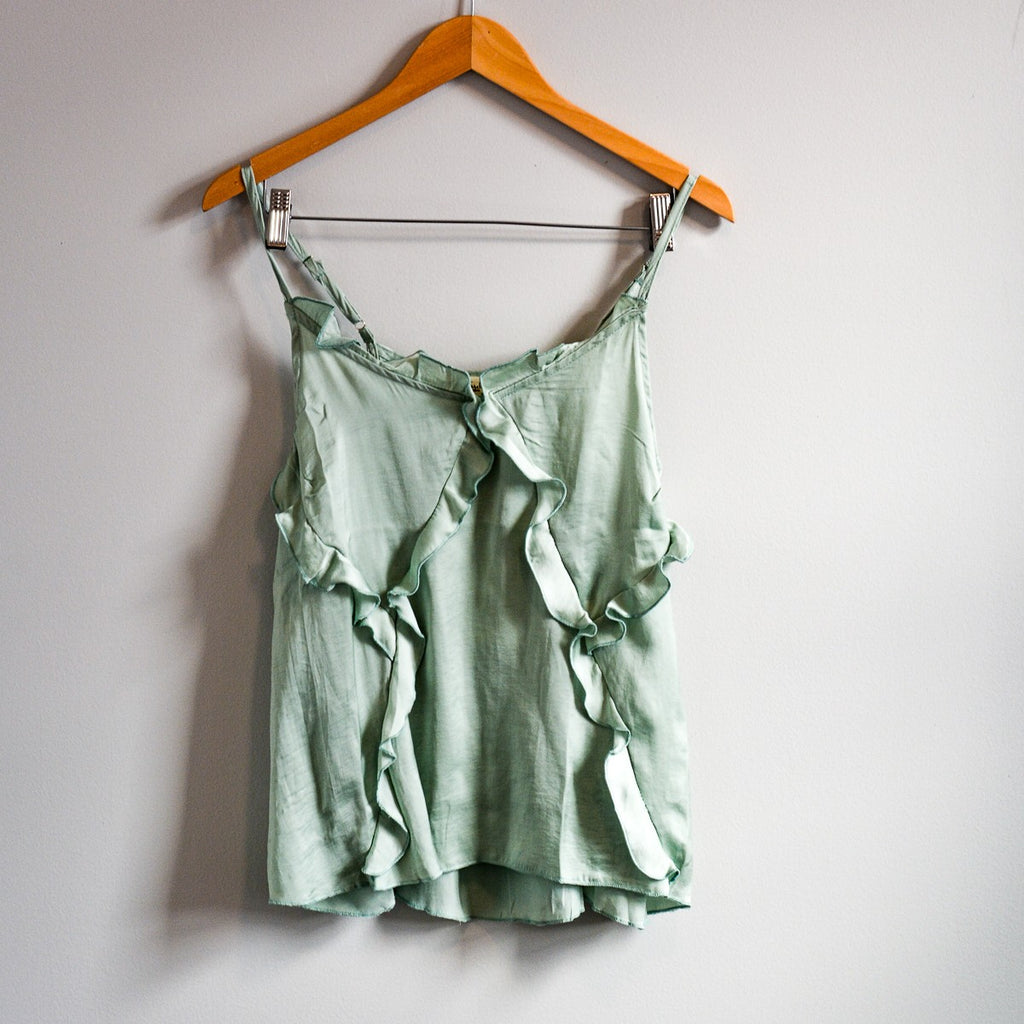 Ruffle Washed Satin Tank