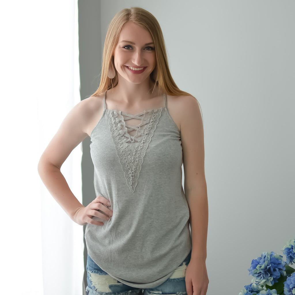 Heather Grey Laced Up Cami