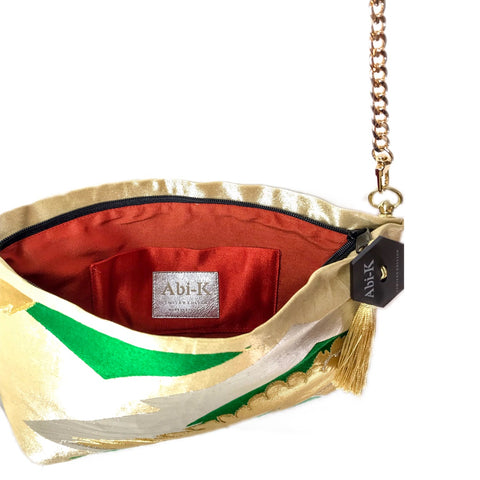 Kimono Cross Body Handbag 'Regal Green & Gold Cranes'