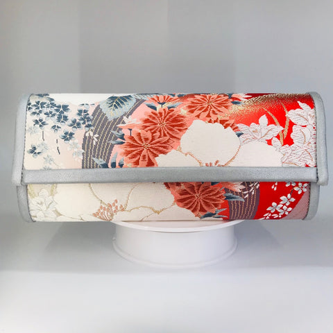 Kimono Luxe Clutch Bag 'Coral with Grey Florals'