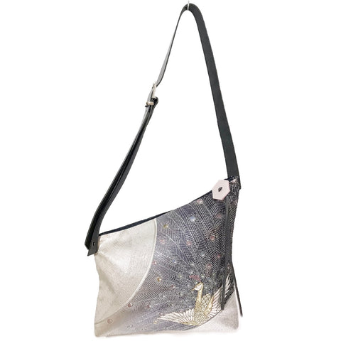 Kimono Silk Shoulder Bag 'Pewter Peacock'