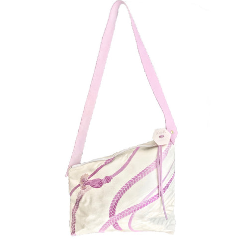 Kimono Silk Shoulder Bag 'Lilac Tassels on Silver, single side'