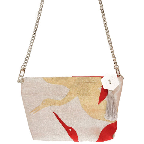 Kimono Cross Body Handbag 'Red Cranes on Silver'