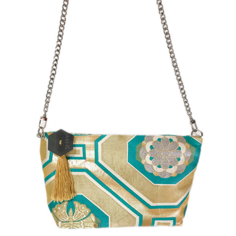 Kimono Cross Body Handbag 'Turquoise & Gold Geometric'
