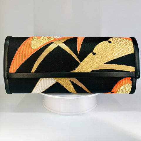 Kimono Luxe Clutch Bag 'Botanical Black Orange Gold'