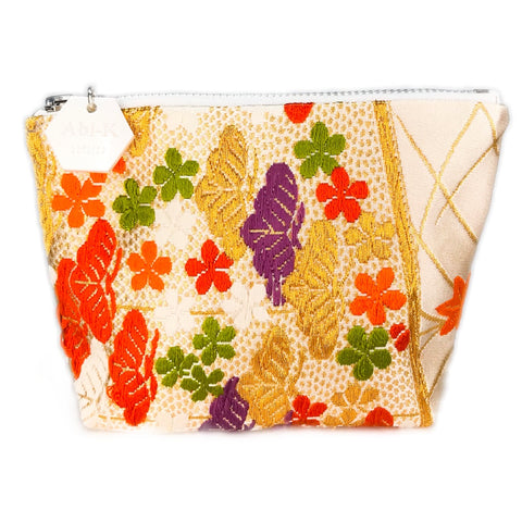Kimono Silk Small Purse 'Orange Gold Botanical 2'