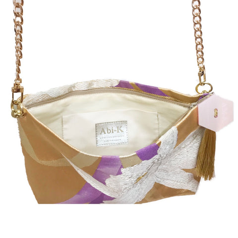 Kimono Cross Body Handbag 'Large Lilac Flower'