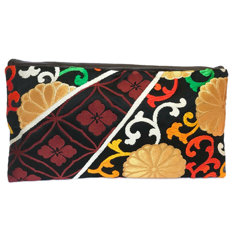 Kimono Asymmetric Clutch Bag 'Gold Burgundy Flora'