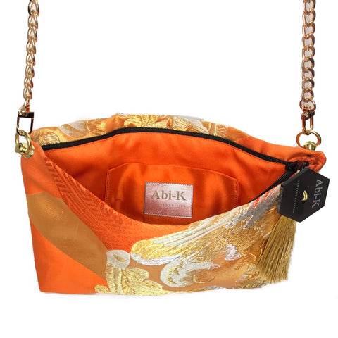 Kimono Cross Body Handbag 'Bright Orange & Gold'