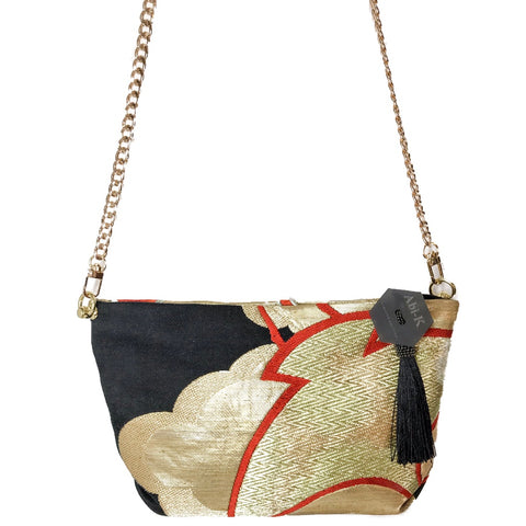 Kimono Cross Body Handbag 'Red Cranes on Gold & Black'