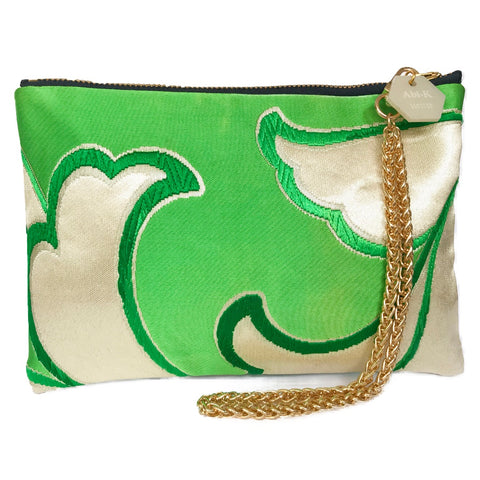 Kimono Silk Cosmetic Purse 'Emerald & Blue Iris 2'
