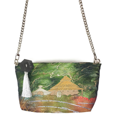 Kimono Cross Body Handbag 'Muted Green Japan Temple'
