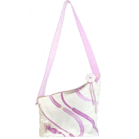 Kimono Silk Shoulder Bag 'Lilac Tassels on Silver, double side'