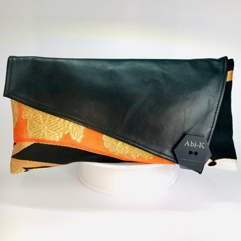 Kimono Asymmetric Clutch Bag 'Black Orange Gold'