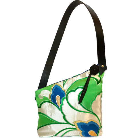 Kimono Silk Shoulder Bag 'Emerald & Blue Iris'