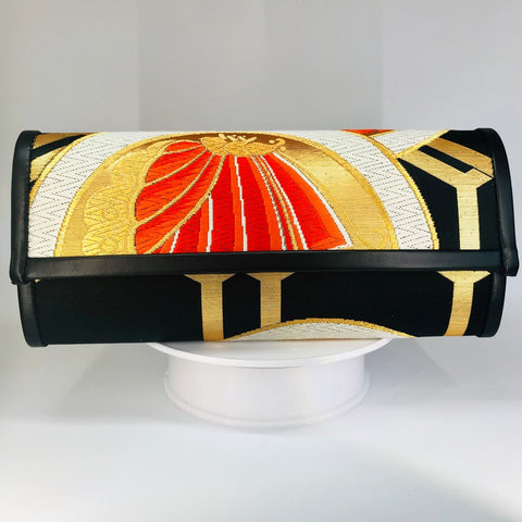 Kimono Luxe Clutch Bag 'Black Gold Geometric with Crane & Butterfly'
