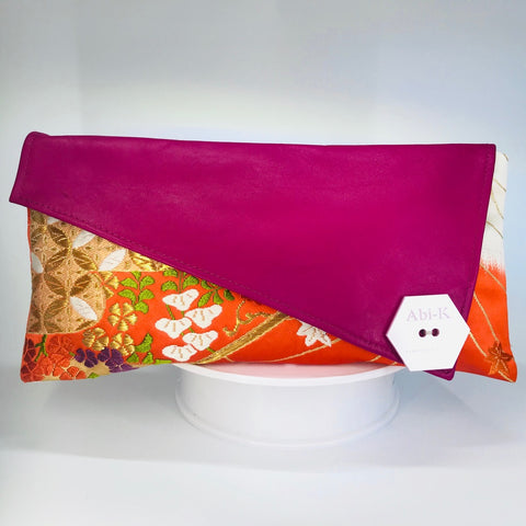 Kimono Asymmetric Clutch Bag 'Orange Gold Botanical Fuchsia leather'