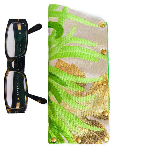 Kimono Silk Glasses Case 'Green Chrysanthemum'