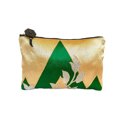 Kimono Silk Cosmetic Purse 'Regal Green & Gold'