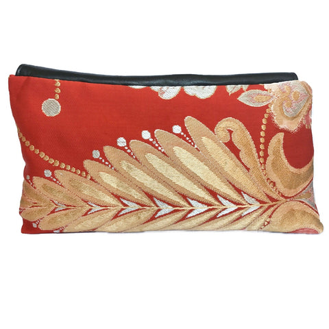 Kimono Asymmetric Clutch Bag 'Burnt Orange Ornate Gold 1'