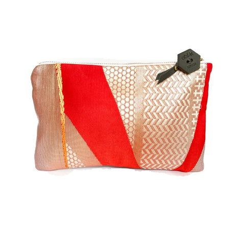 Kimono Silk Cosmetic Purse 'Graphic Red Retro'